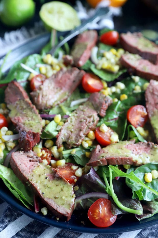 Mojo steak salad on a plate photo