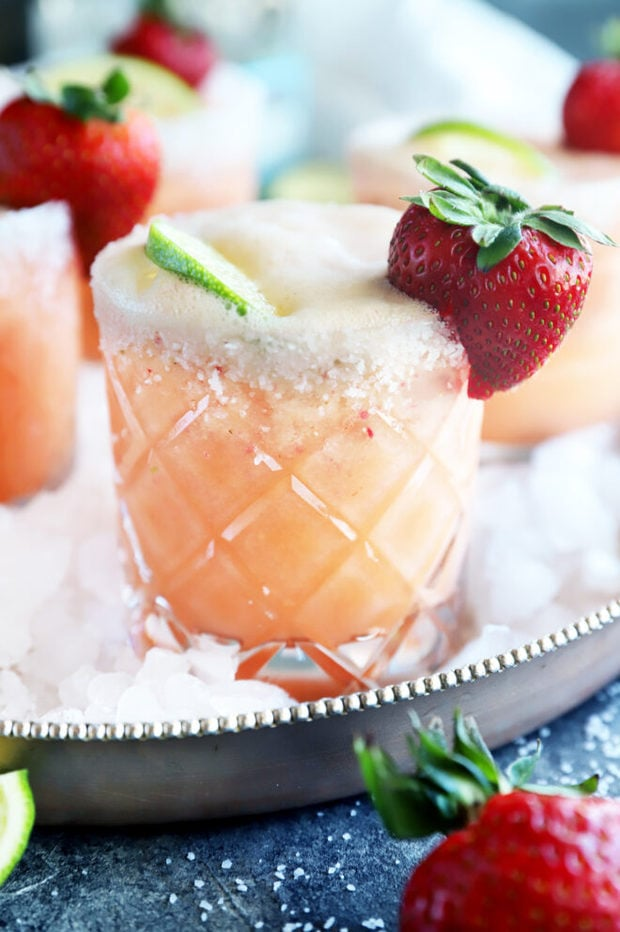 Side photo of strawberry margarita mimosa