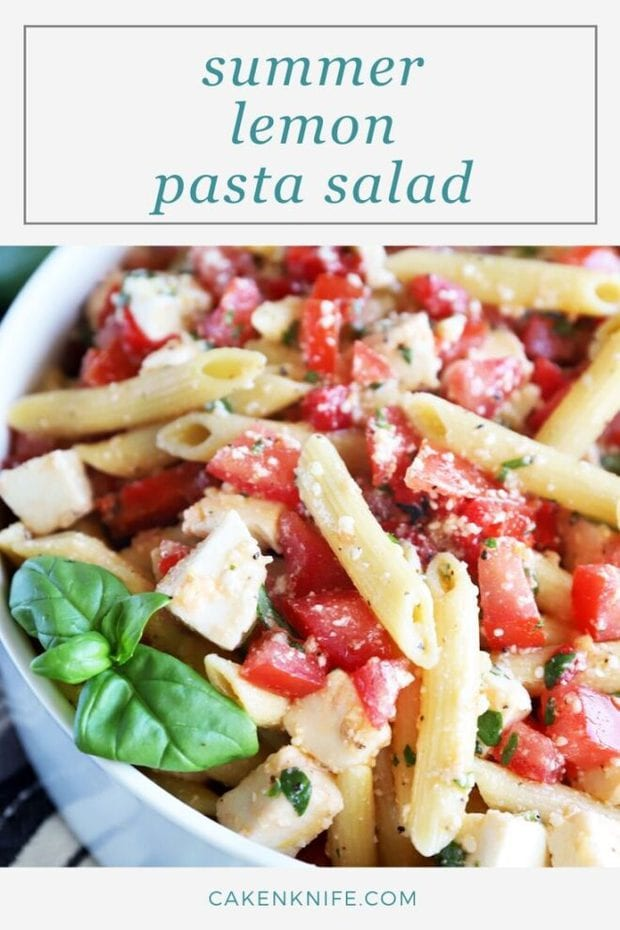 Summer pasta salad Pinterest image