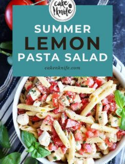 Pinterest graphic for lemon pasta salad