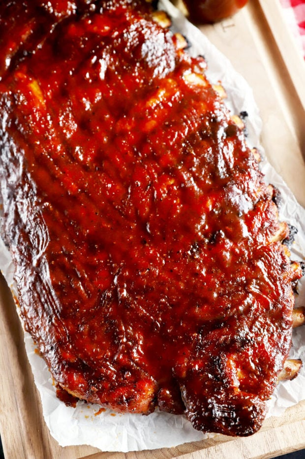 Overhead rack of bbq apple cider ribs photo