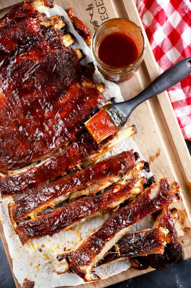 Apple cider ribs overhead photo on cutting board
