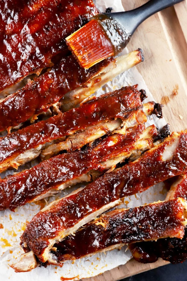 BBQ ribs sliced on cutting board picture