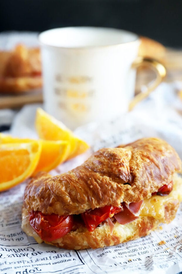 Breakfast Croissant Sandwich photo on paper
