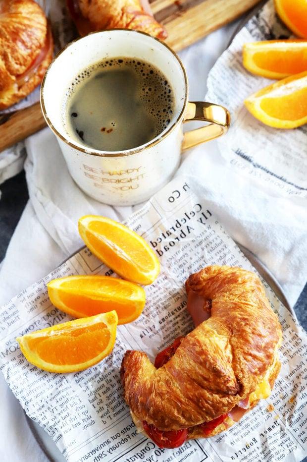 Overhead photo of croissant breakfast