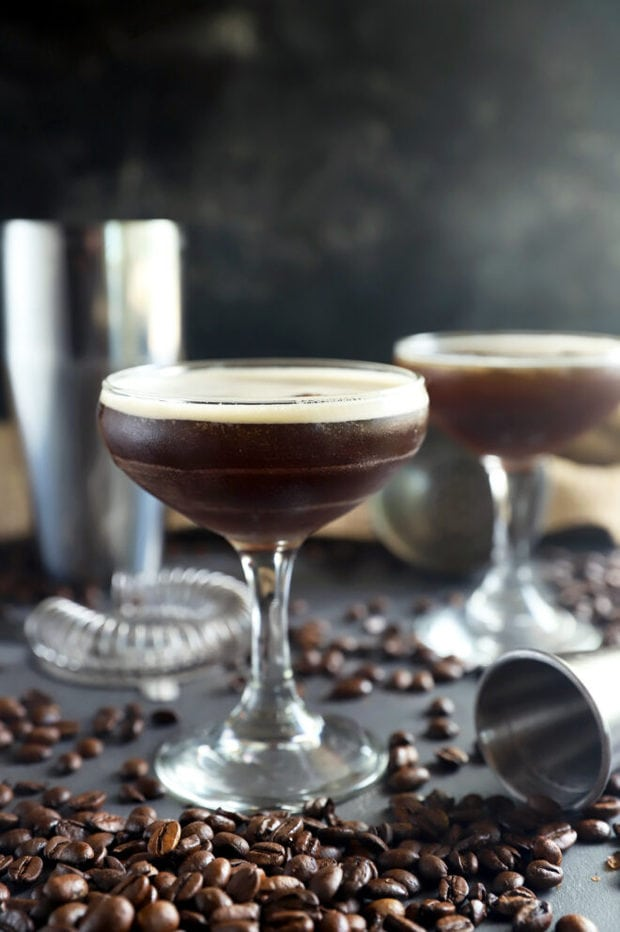 Side photo of espresso martinis