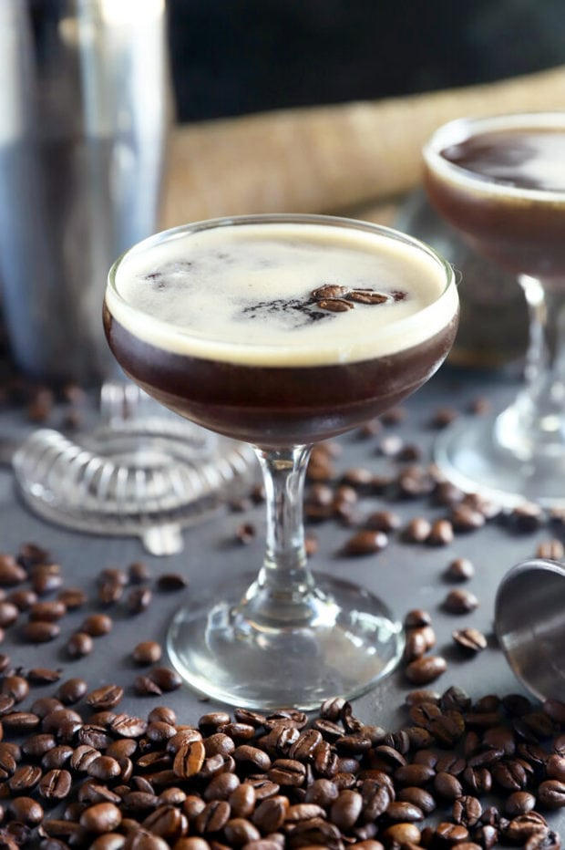 Martini recipe with coffee in a glass photo