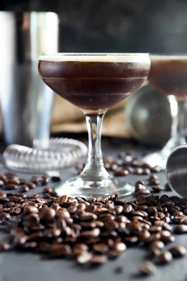 Side photo of coffee beans and martinis
