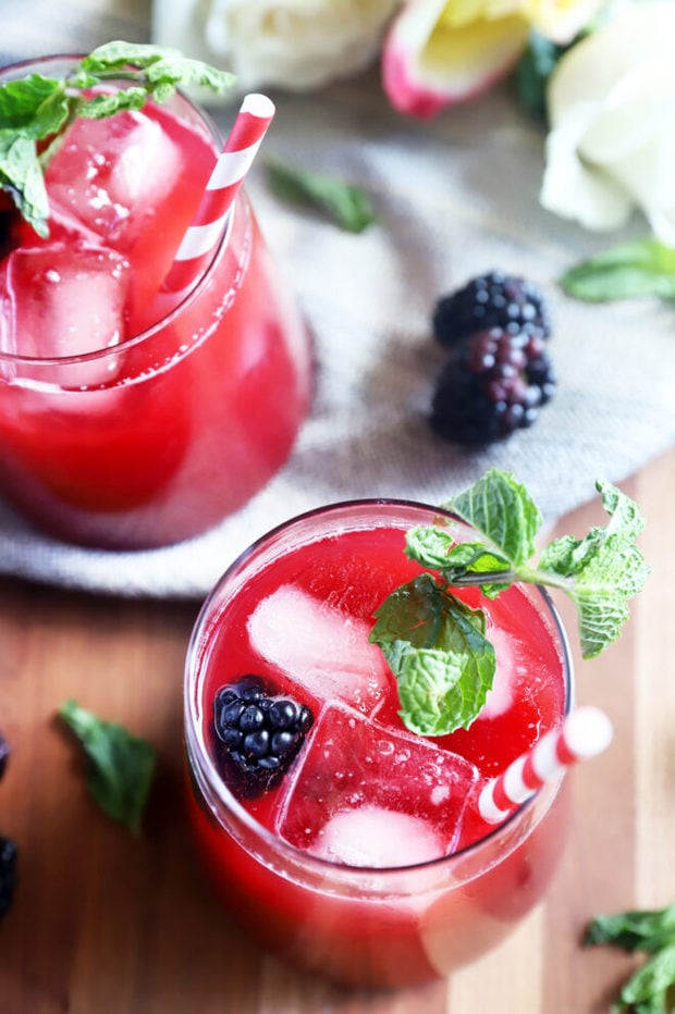 Cocktail with blackberries and mint photo