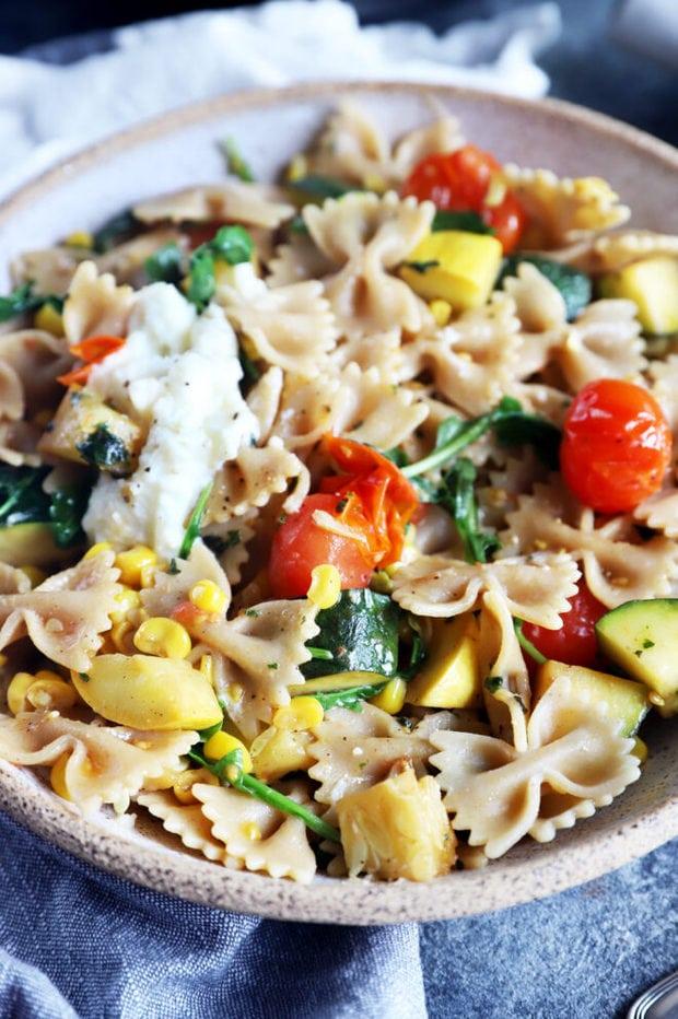 Farmer's market pasta in a bowl image