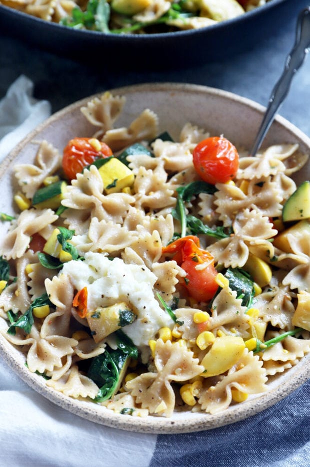 Bowtie pasta with lots of summer vegetables image