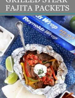 Steak fajita foil packets Pinterest image