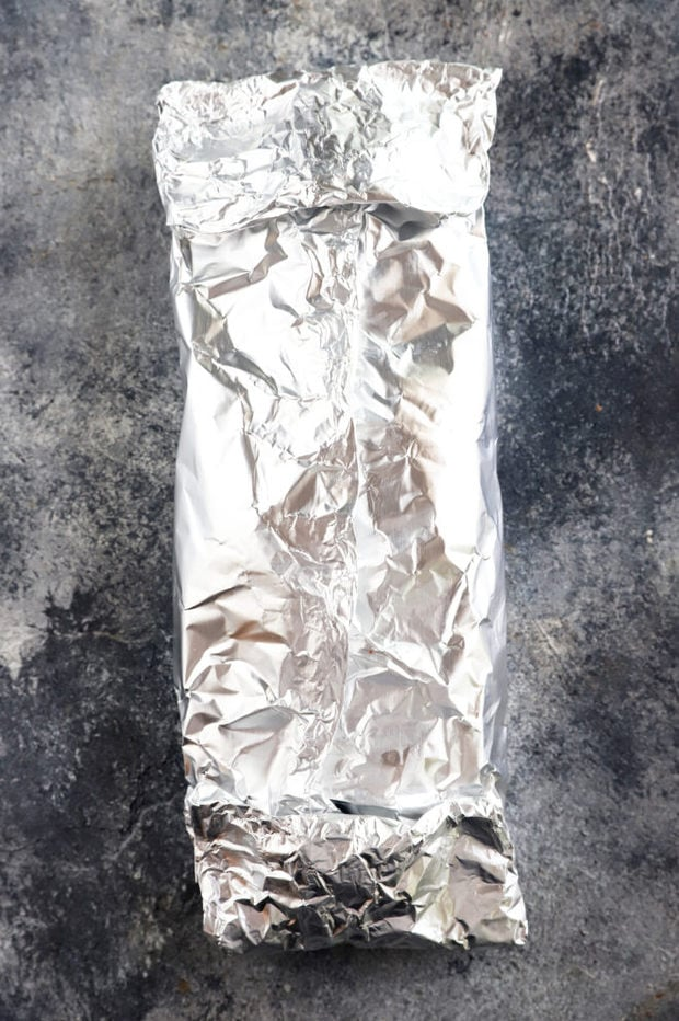 Wrapped up steak fajita packet overhead picture