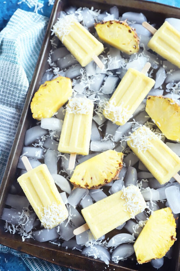 Overhead photo of pina colada popsicles