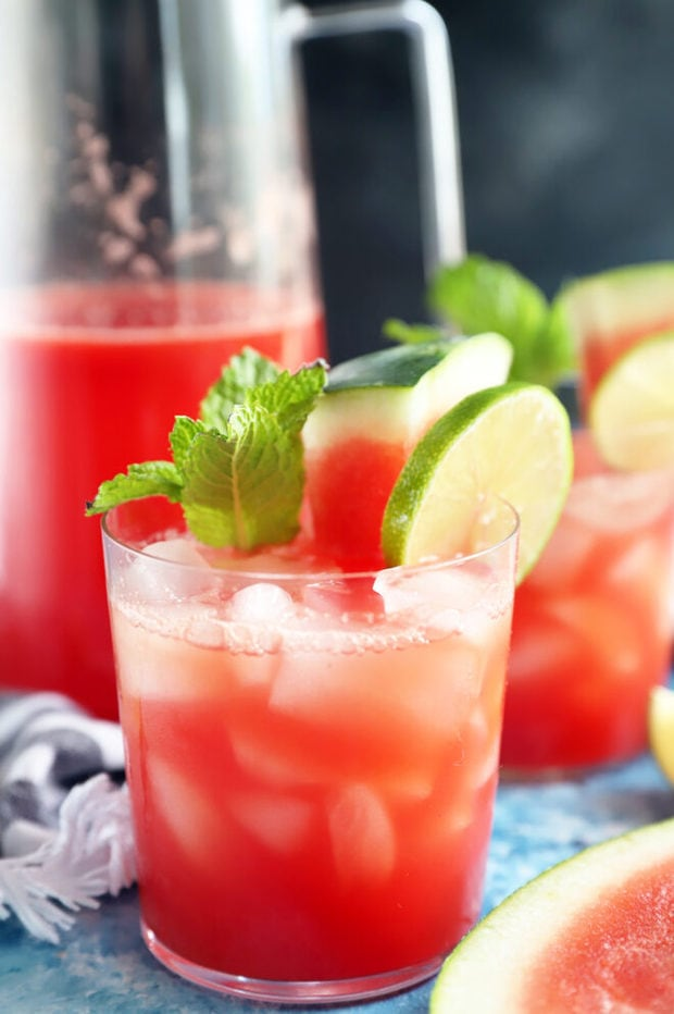 Watermelon lime agua fresca in glass image