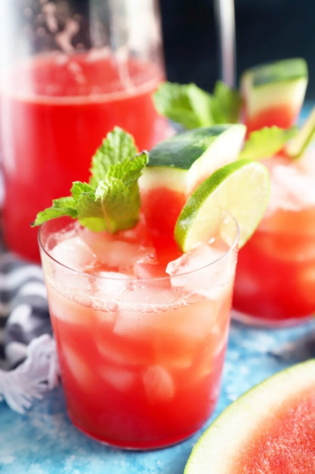 Watermelon drink in glass photo from side