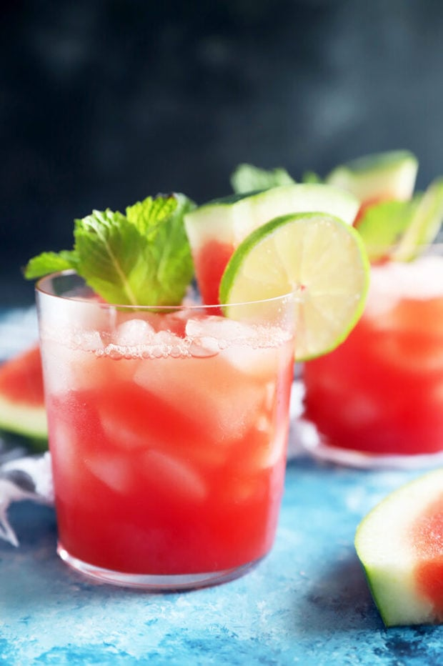 Side photo of watermelon agua fresca