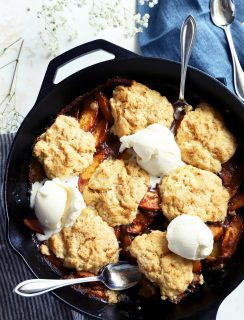 Grilled peach cobbler with ice cream image
