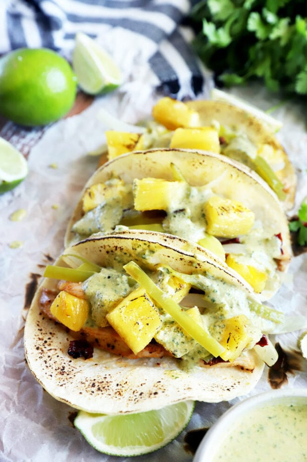 Pineapple chicken sheet pan tacos image