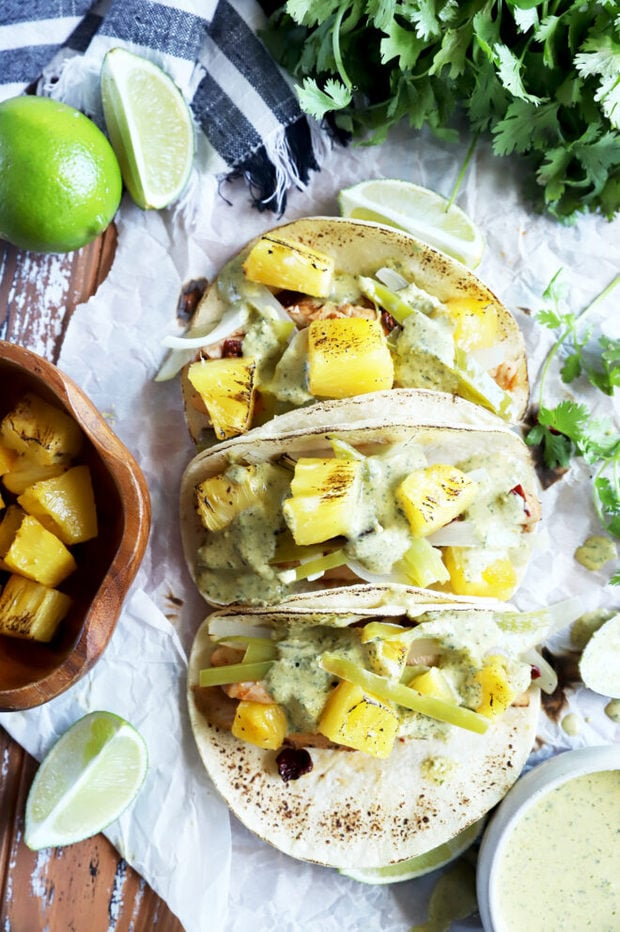 Pineapple chicken tacos overhead image