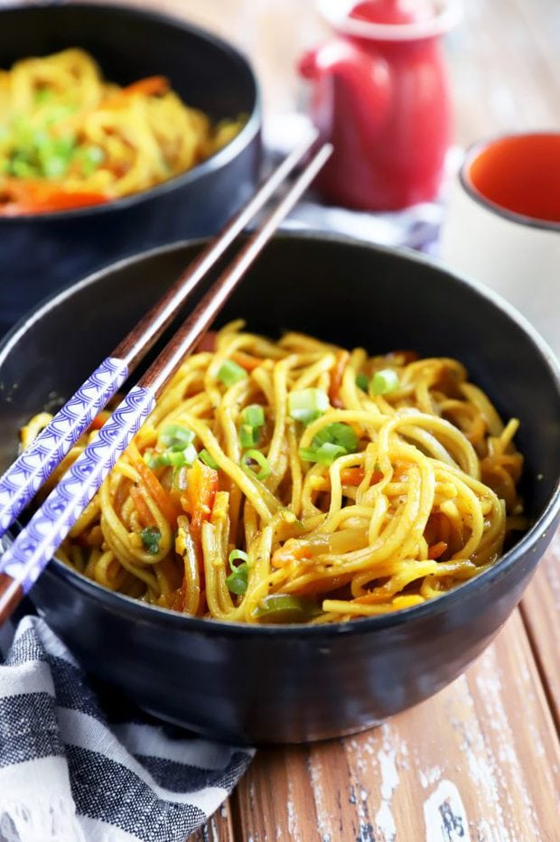 Chopsticks and Asian noodles picture