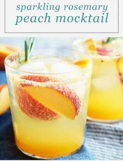 Sparkling Rosemary Peach Mocktail Pinterest Image