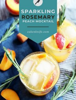 Sparkling Rosemary Peach Mocktail Pinterest Picture