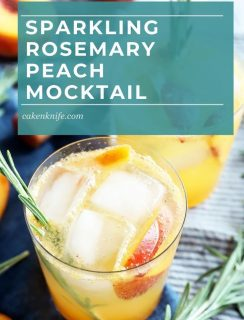 Sparkling Rosemary Peach Mocktail Pinterest Photo
