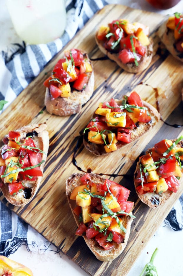 Tomato Peach Bruschetta Recipe Overhead photo