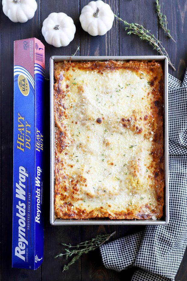 Freezer fall lasagna image overhead