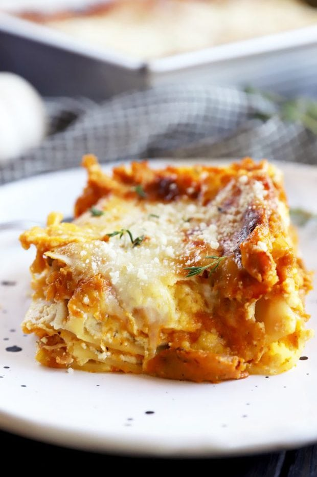 Picture of fall lasagna on a plate