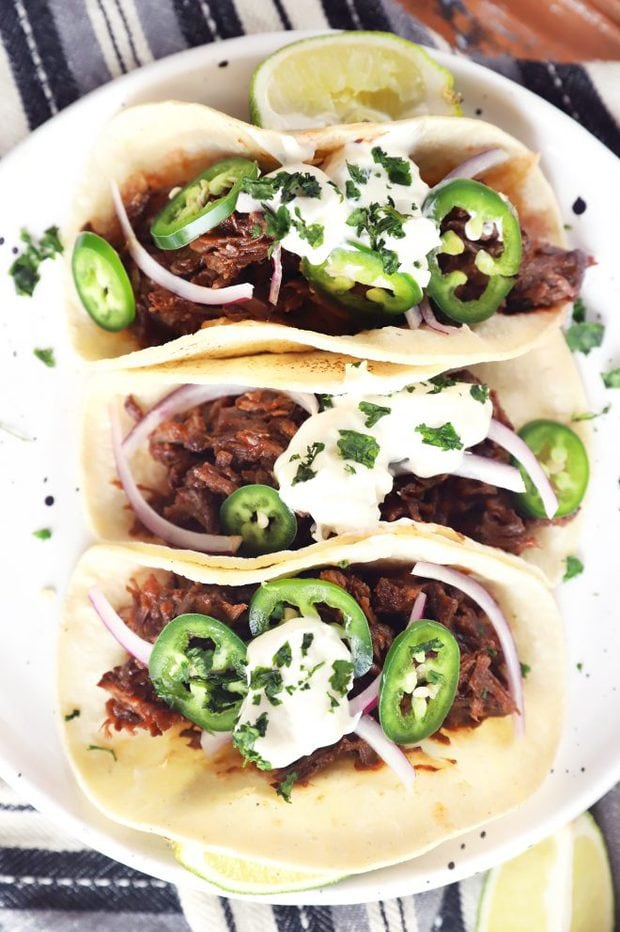 Overhead picture of BBQ short rib tacos