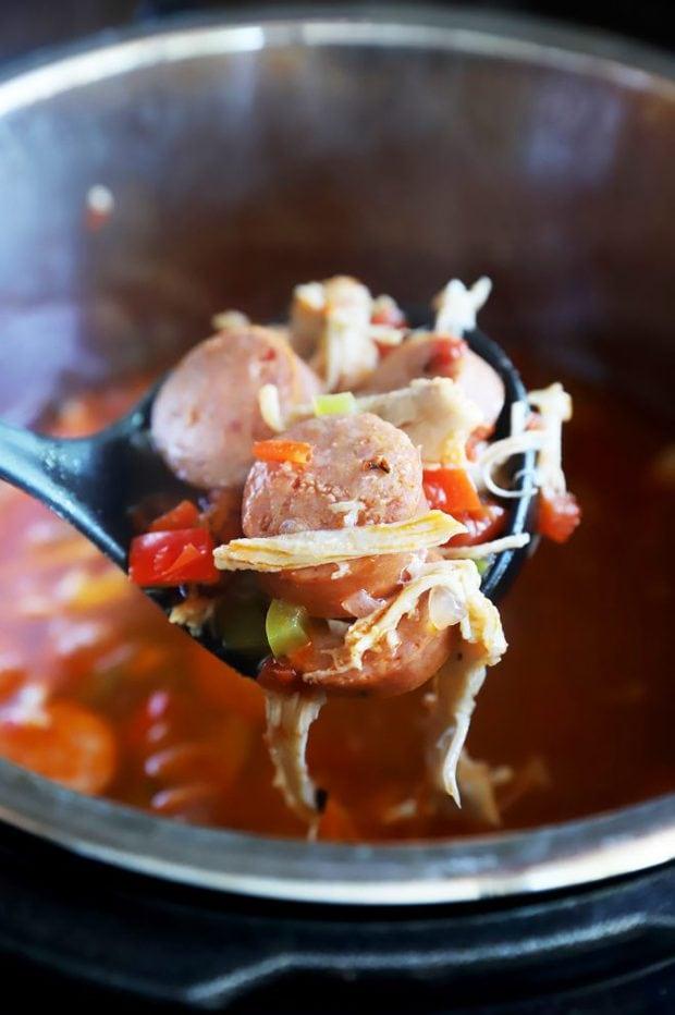 Ladle of creole soup image