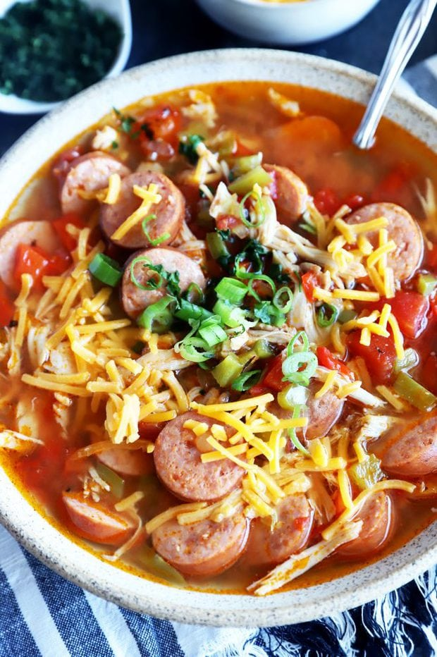 Chicken sausage soup photo in a bowl