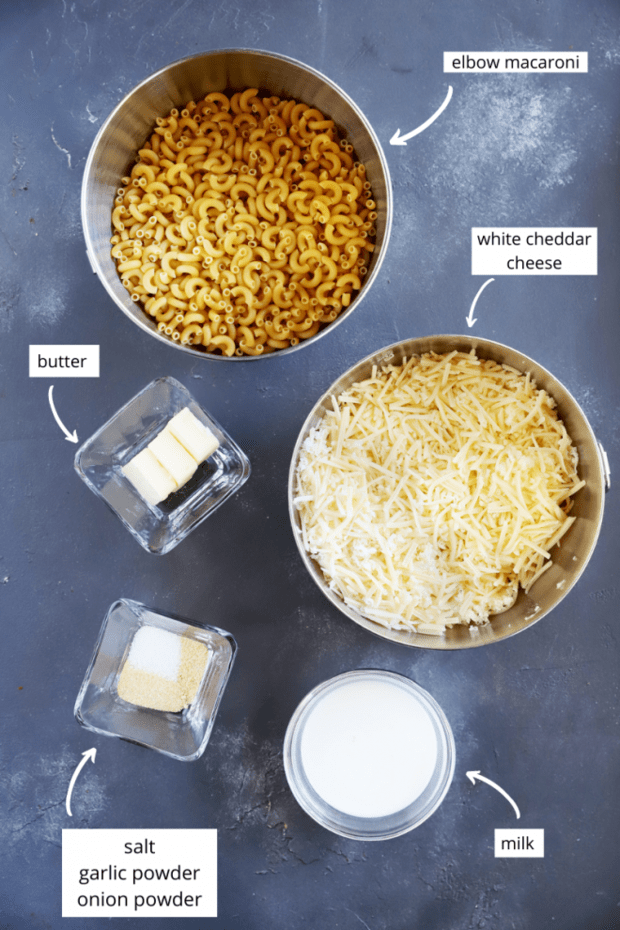 Ingredients for white cheddar mac and cheese image