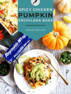 Spicy Black Bean Chicken Pumpkin Enchilada Bake Pinterest Image