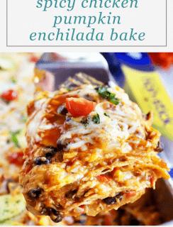 Spicy Black Bean Chicken Pumpkin Enchilada Bake Pinterest Graphic