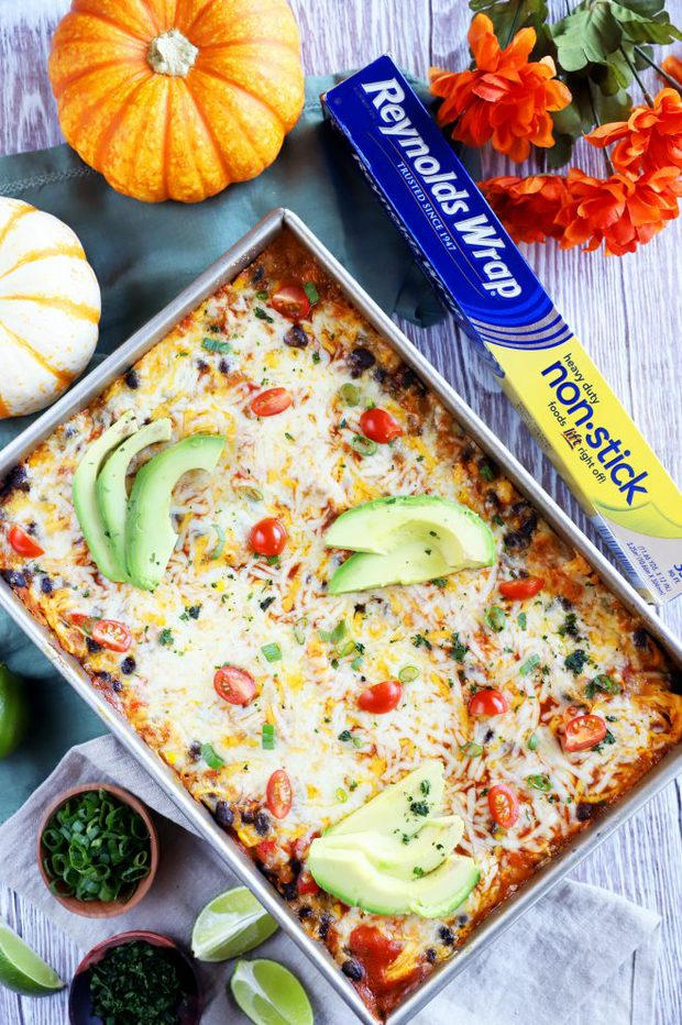 Overhead picture of enchilada bake