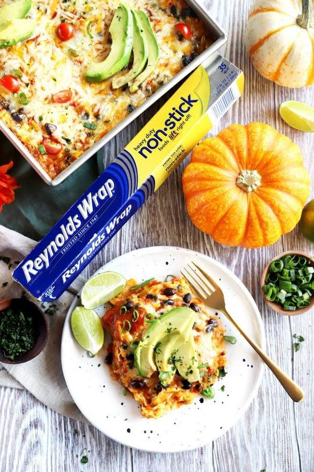 Photo of pumpkin enchilada bake and Reynolds Wrap Foil