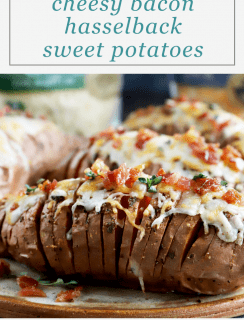 Cheesy Maple Bacon Hasselback Sweet Potatoes Pinterest Image