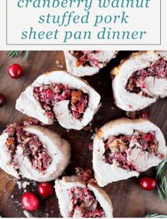 Cranberry Rosemary Walnut Stuffed Sheet Pan Pork Tenderloin Meal Pinterest Image