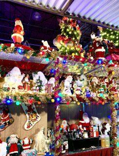 Holiday lights and bar