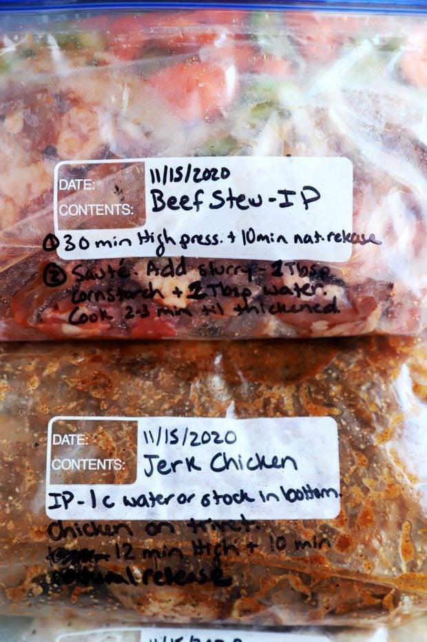 Overhead photo of freezer meals in bags