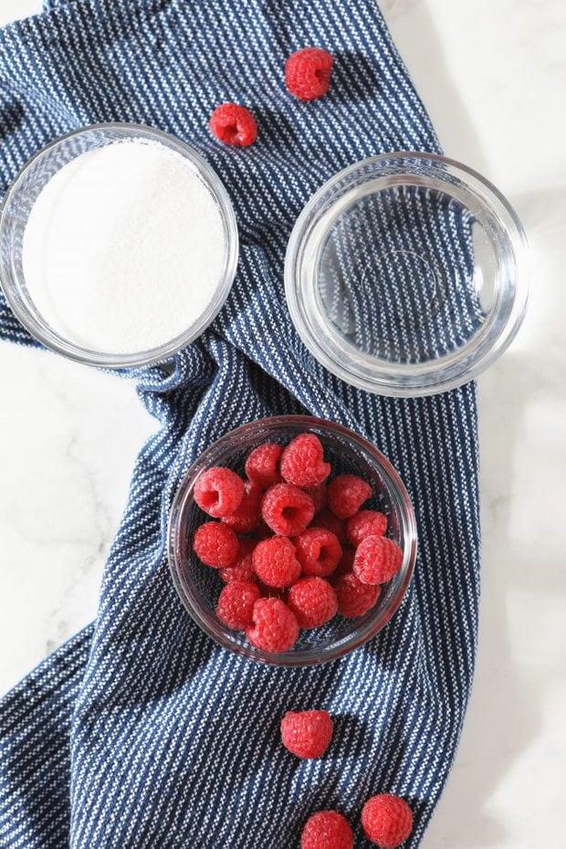 overhead photo of raspberries