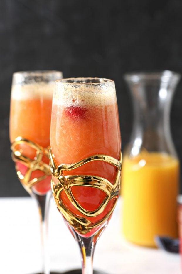 Side photo of raspberry mimosa