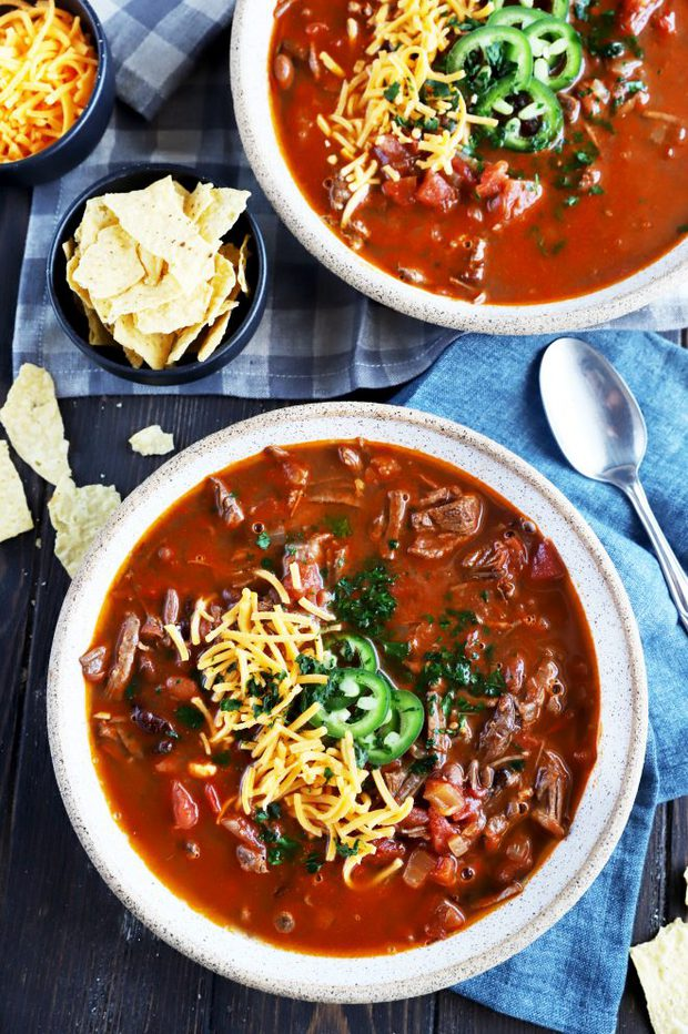 Overhead photo of bowls of chili
