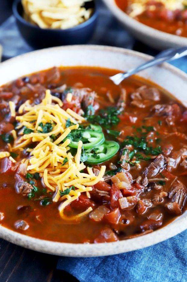 Bowl full of steak chili image