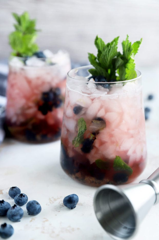 Side photo of blueberry mint julep