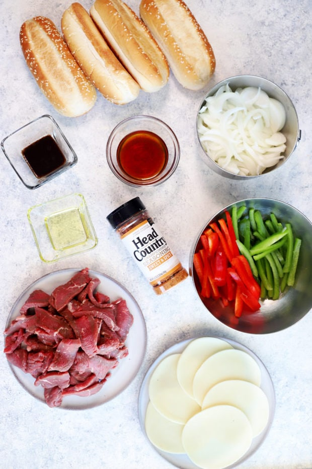 Picture of ingredients for Instant Pot Philly Cheesesteaks