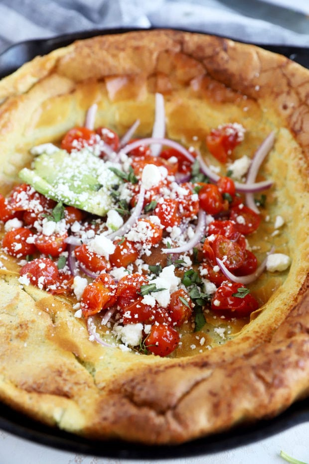 Side view of dutch baby savory